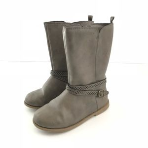 Old Navy Toddler Boot 9 Girl Gray Tall Buckled Zip
